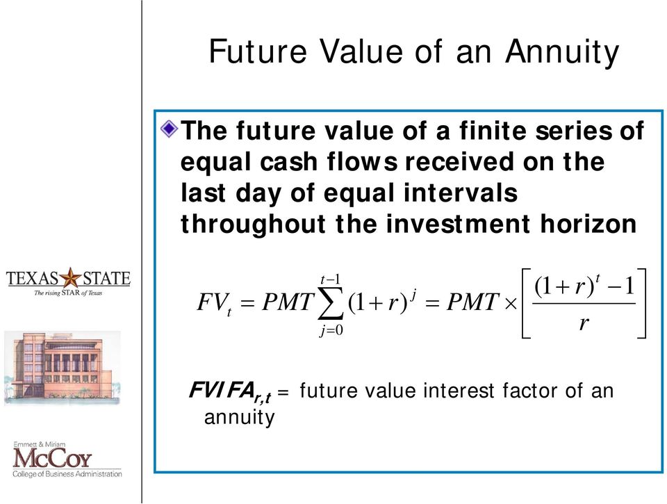 throughout the investment horizon FV t t 1 j (1 r) PMT (1 r)