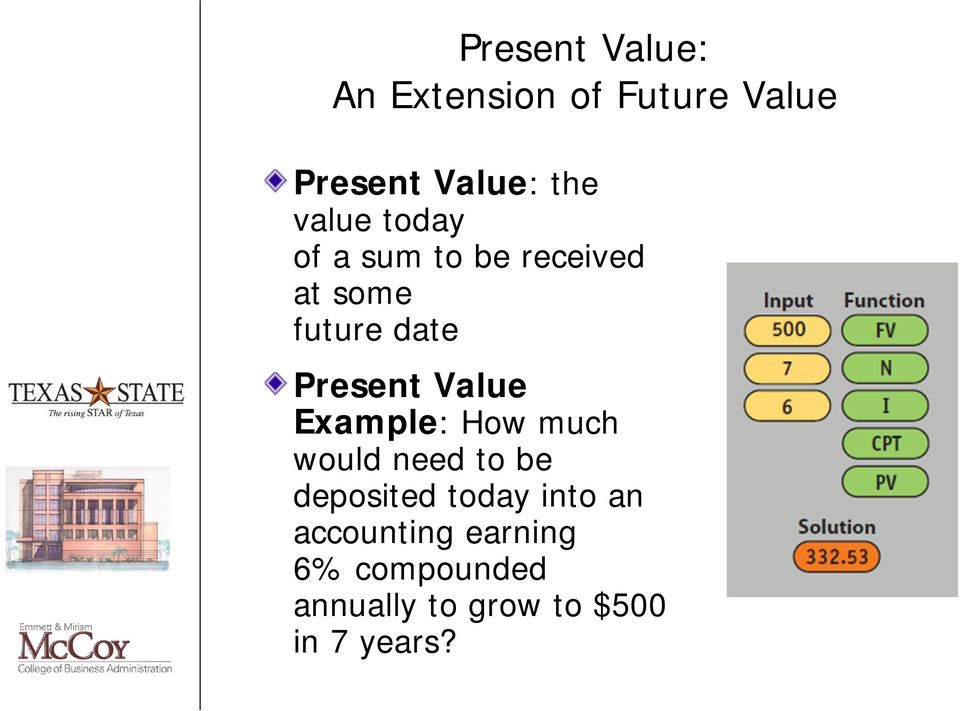 Value Example: How much would need to be deposited today into an