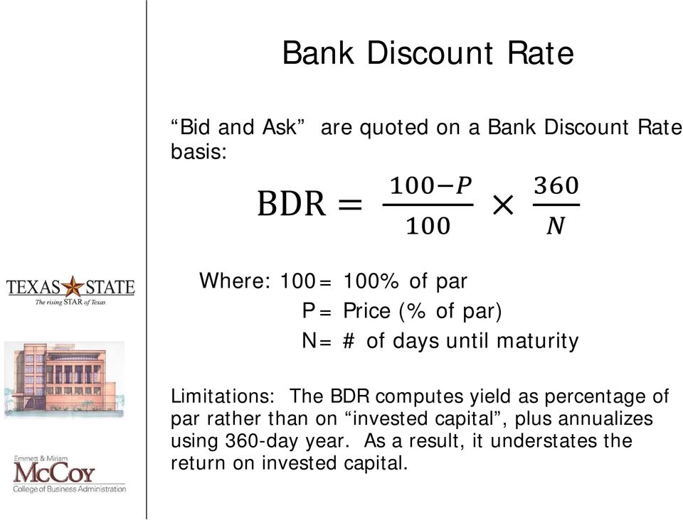 BDR computes yield as percentage of par rather than on invested capital, plus