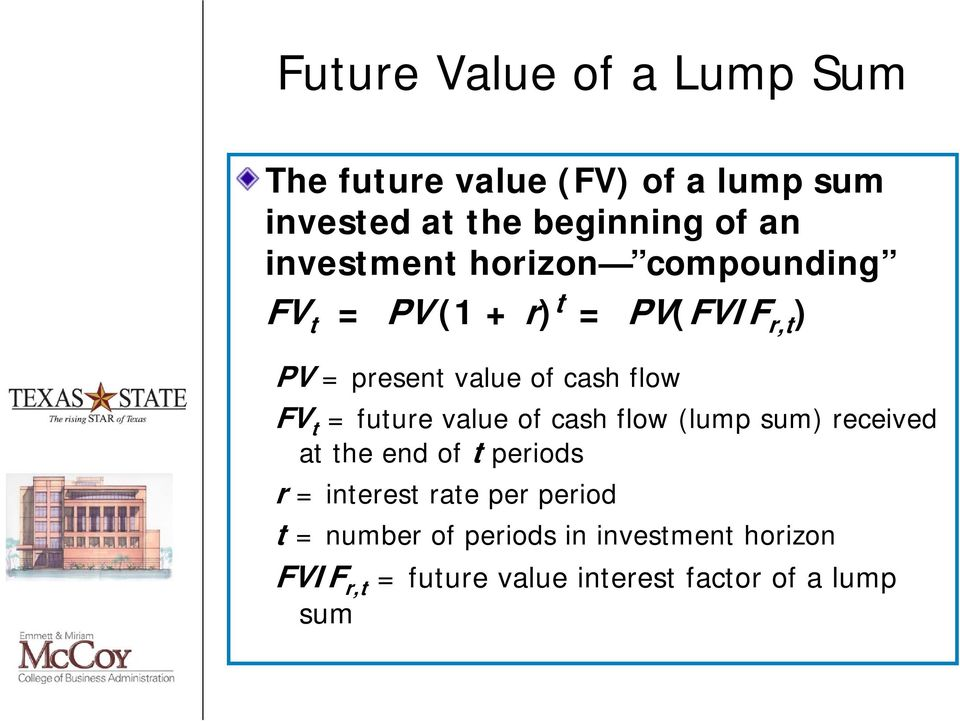 FV t = future value of cash flow (lump sum) received at the end of t periods r = interest rate per