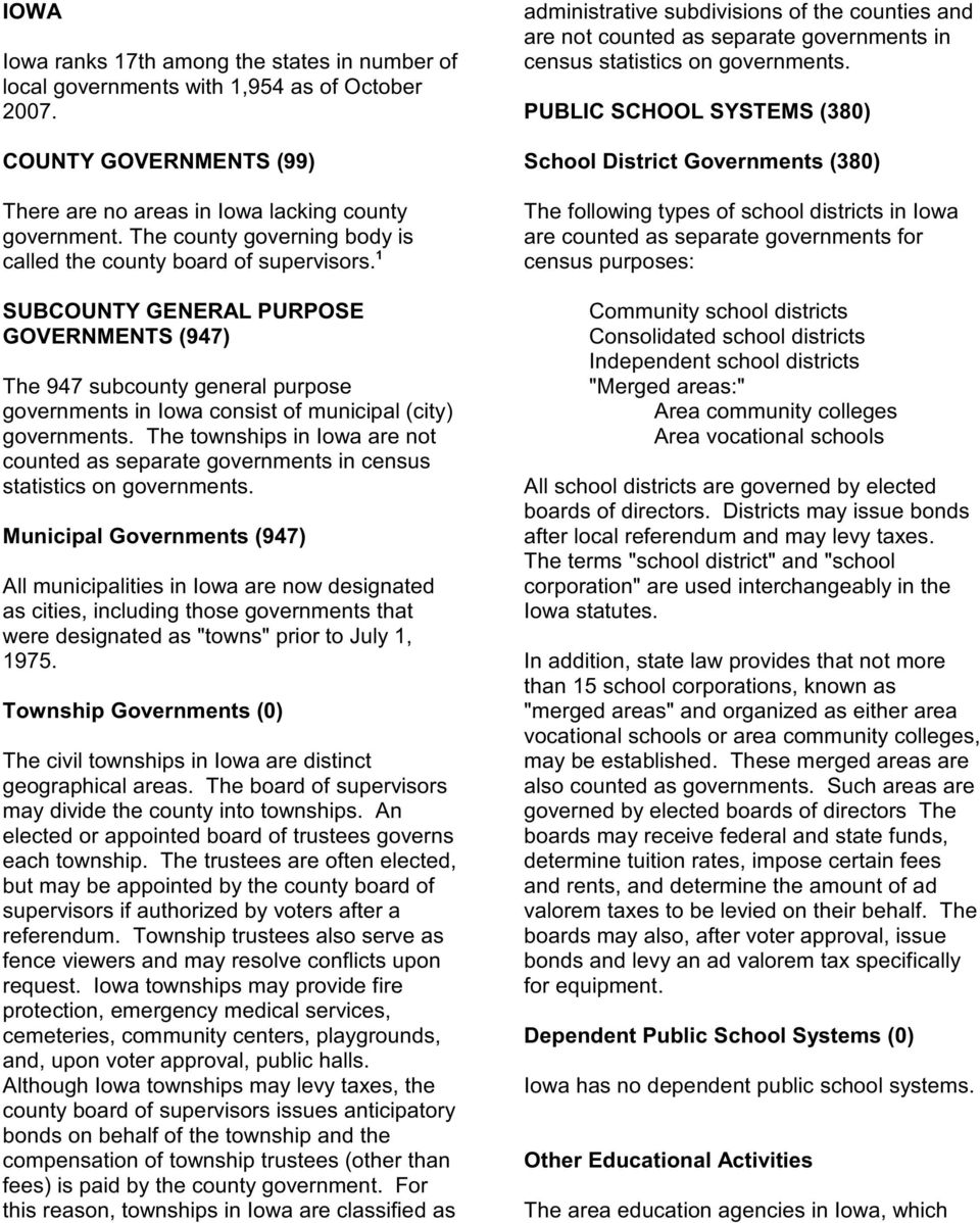 1 SUBCOUNTY GENERAL PURPOSE GOVERNMENTS (947) The 947 subcounty general purpose governments in Iowa consist of municipal (city) governments.
