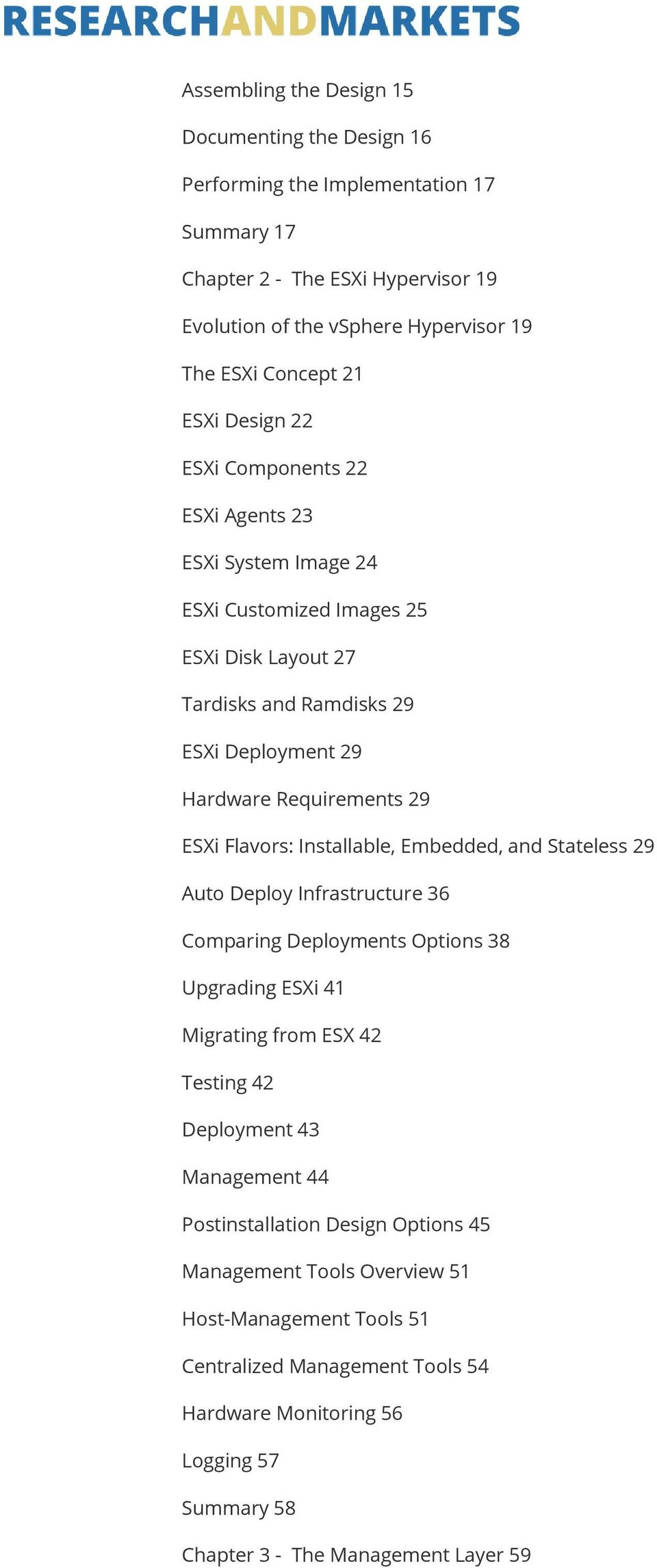 Flavors: Installable, Embedded, and Stateless 29 Auto Deploy Infrastructure 36 Comparing Deployments Options 38 Upgrading ESXi 41 Migrating from ESX 42 Testing 42 Deployment 43 Management 44