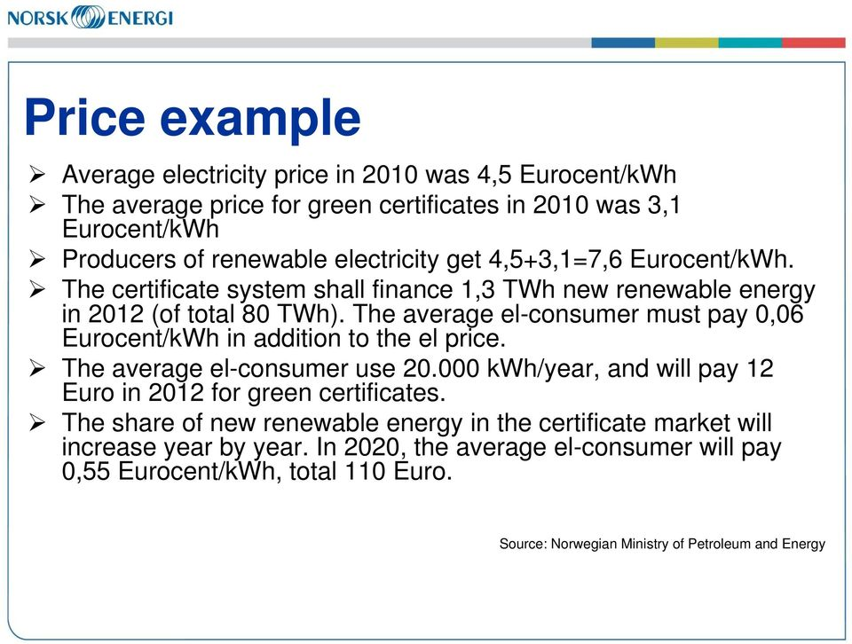 The average el-consumer must pay 0,06 Eurocent/kWh in addition to the el price. The average el-consumer use 20.