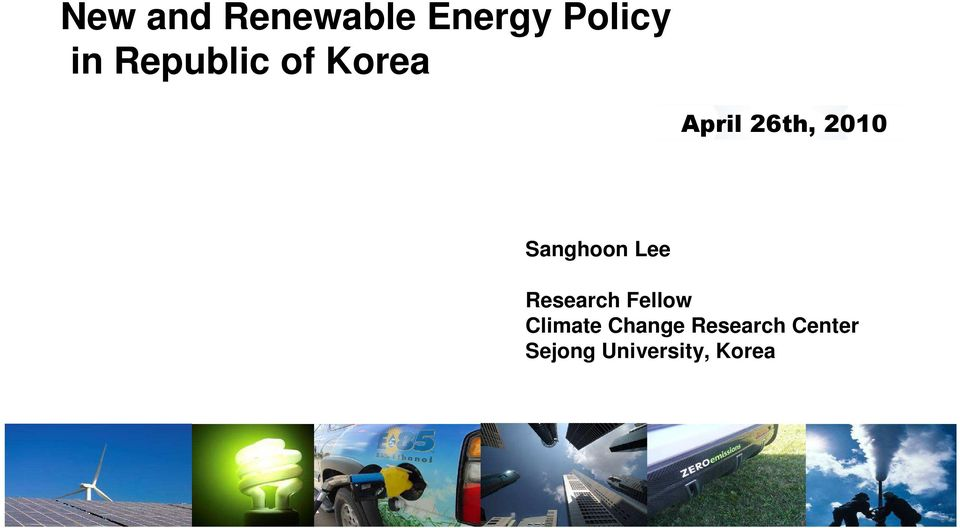 Sanghoon Lee Research Fellow Climate