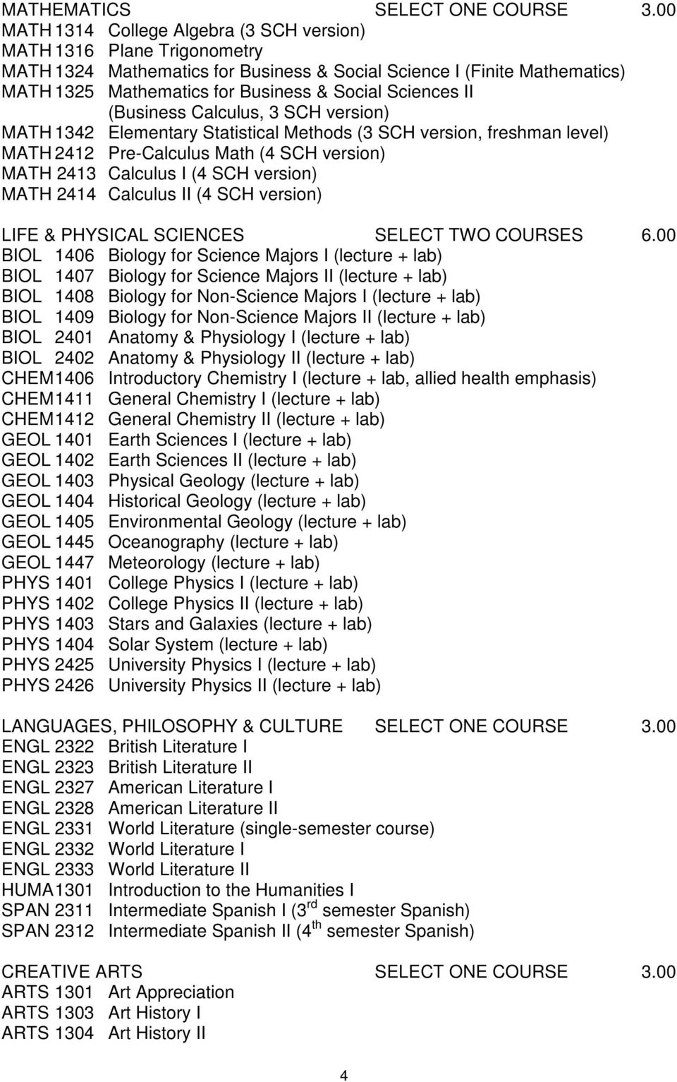 Sciences II (Business Calculus, 3 SCH version) MATH 1342 Elementary Statistical Methods (3 SCH version, freshman level) MATH 2412 Pre-Calculus Math (4 SCH version) MATH 2413 Calculus I (4 SCH