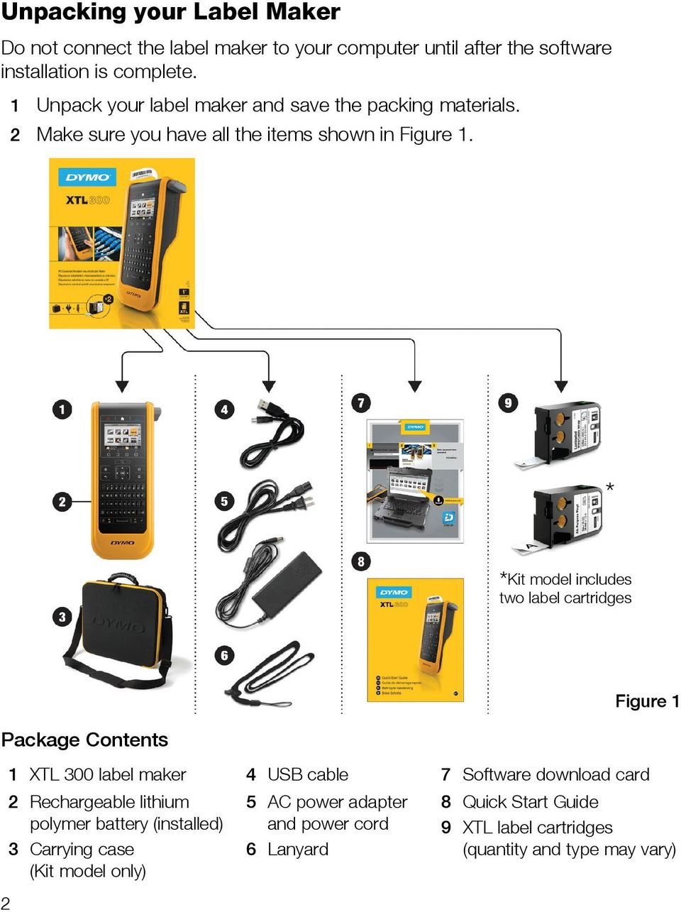 * *Kit model includes two label cartridges Package Contents 1 XTL 300 label maker 4 USB cable 7 Software download card 2 3 Rechargeable