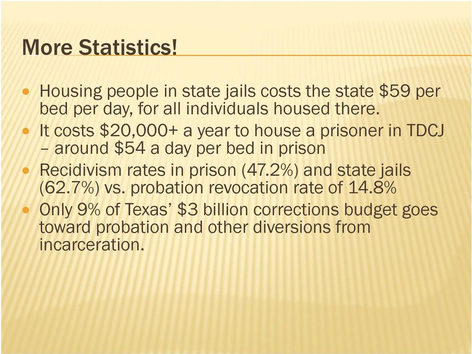 It costs $20,000+ a year to house a prisoner in TDCJ around $54 a day per bed in prison Recidivism