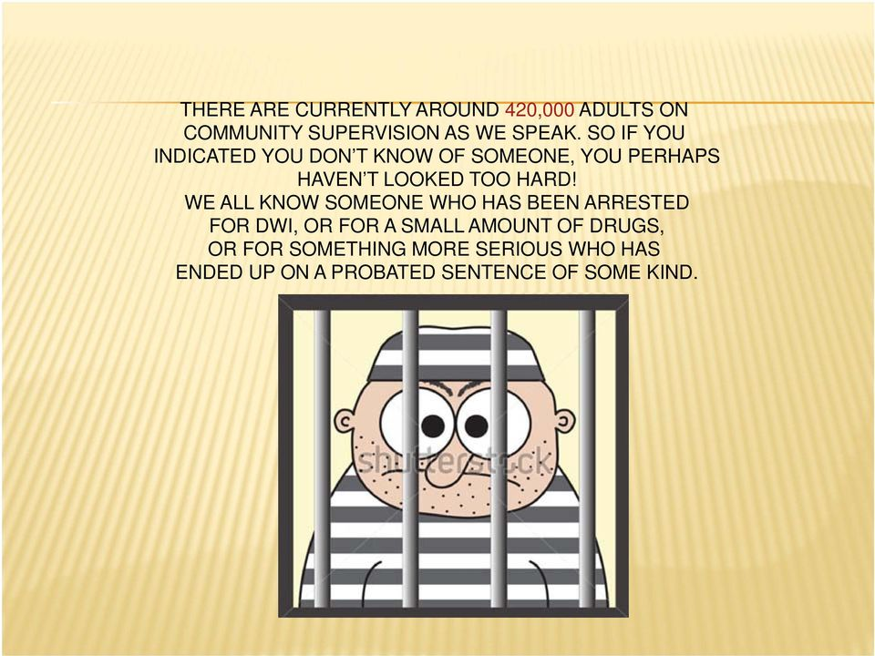 WE ALL KNOW SOMEONE WHO HAS BEEN ARRESTED FOR DWI, OR FOR A SMALL AMOUNT OF DRUGS,