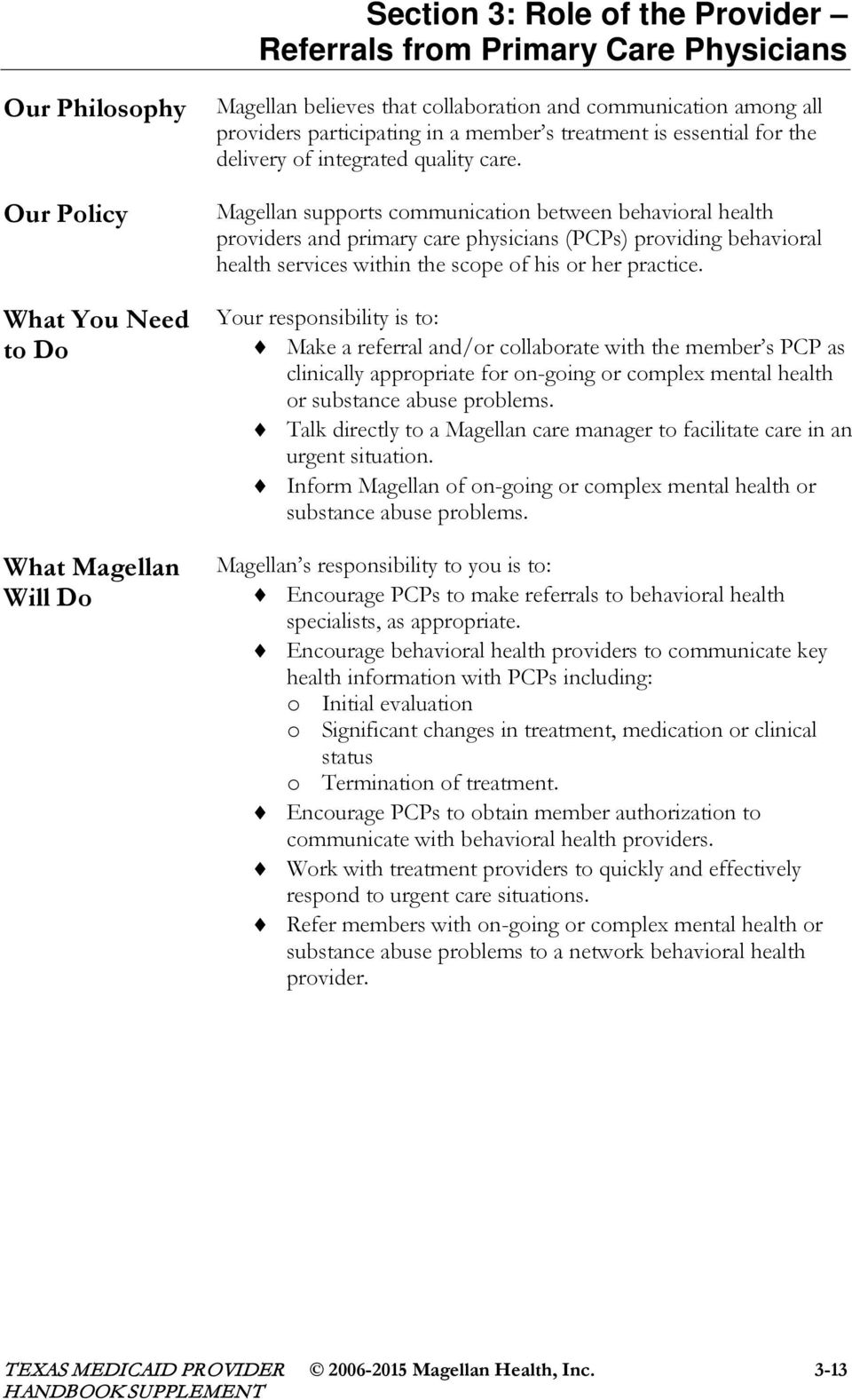 Magellan supports communication between behavioral health providers and primary care physicians (PCPs) providing behavioral health services within the scope of his or her practice.