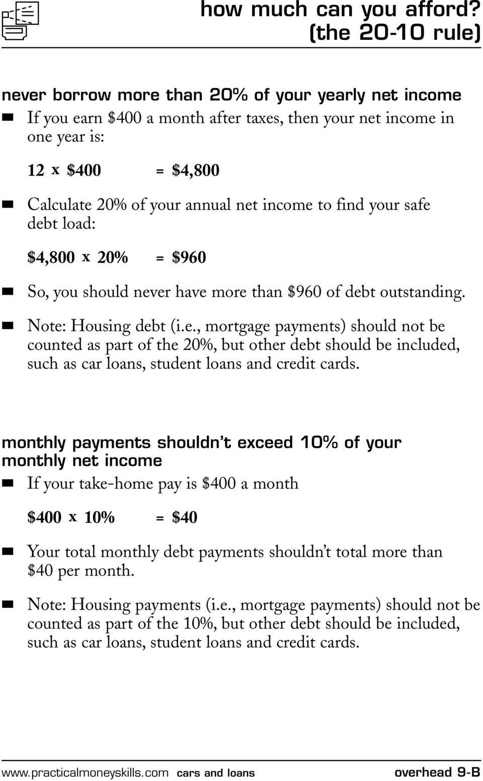 income to find your safe debt load: $4,800 x 20% = $960 So, you should never have more than $960 of debt outstanding. Note: Housing debt (i.e., mortgage payments) should not be counted as part of the 20%, but other debt should be included, such as car loans, student loans and credit cards.