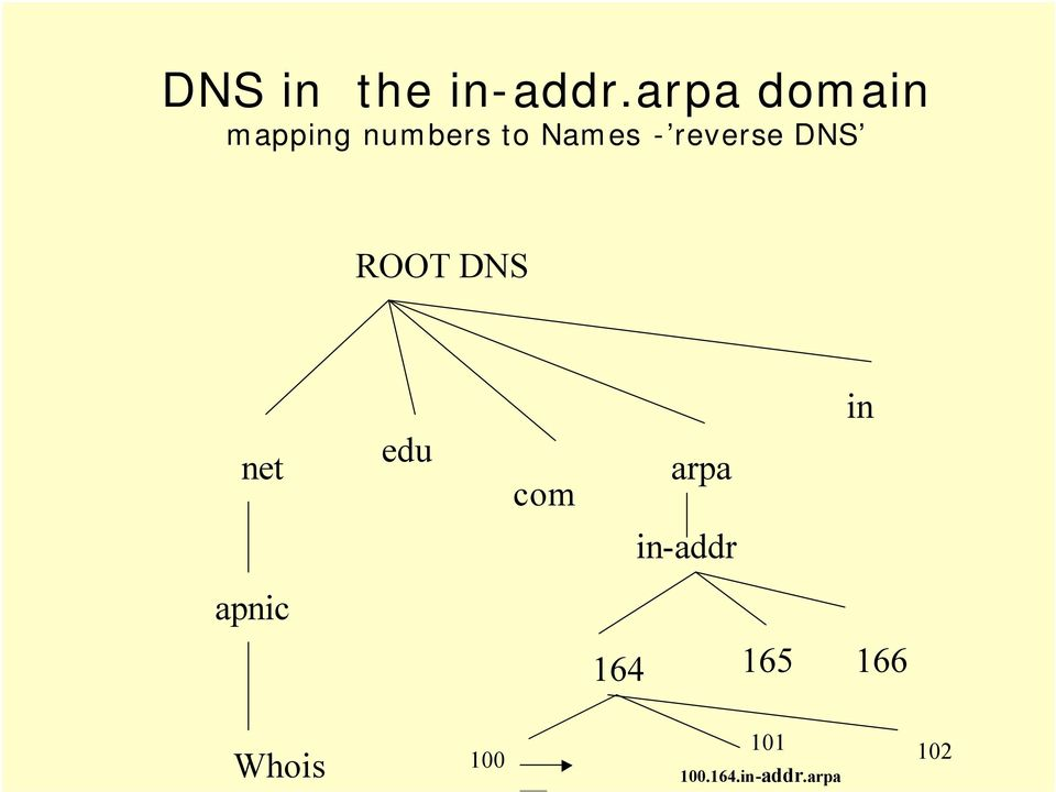 reverse DNS ROOT DNS net edu com arpa in