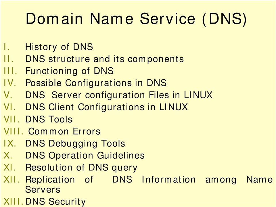 DNS Client Configurations in LINUX VII. DNS Tools VIII. Common Errors IX. DNS Debugging Tools X.