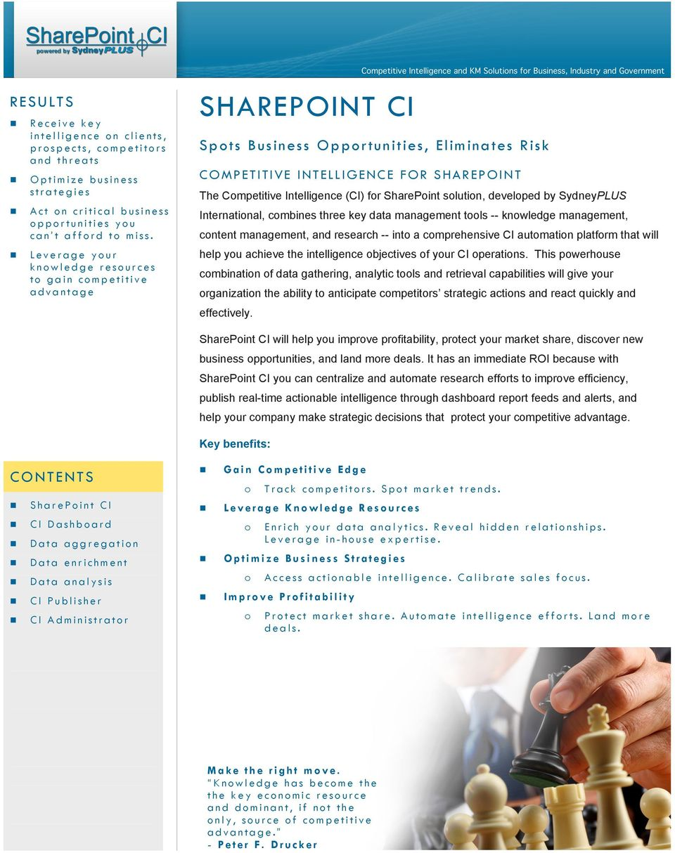 for SharePoint solution, developed by SydneyPLUS International, combines three key data management tools -- knowledge management, content management, and research -- into a comprehensive CI