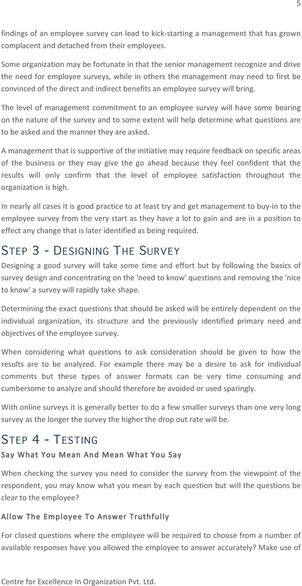 indirect benefits an employee survey will bring.