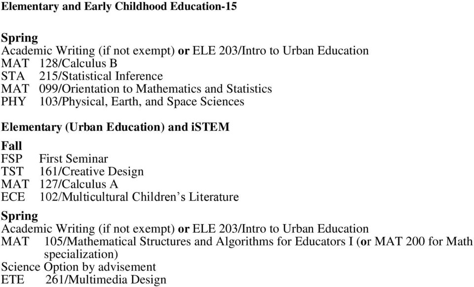 (Urban Education) and istem TST 161/Creative Design MAT 127/Calculus A ECE 102/Multicultural Children s Literature Academic Writing (if