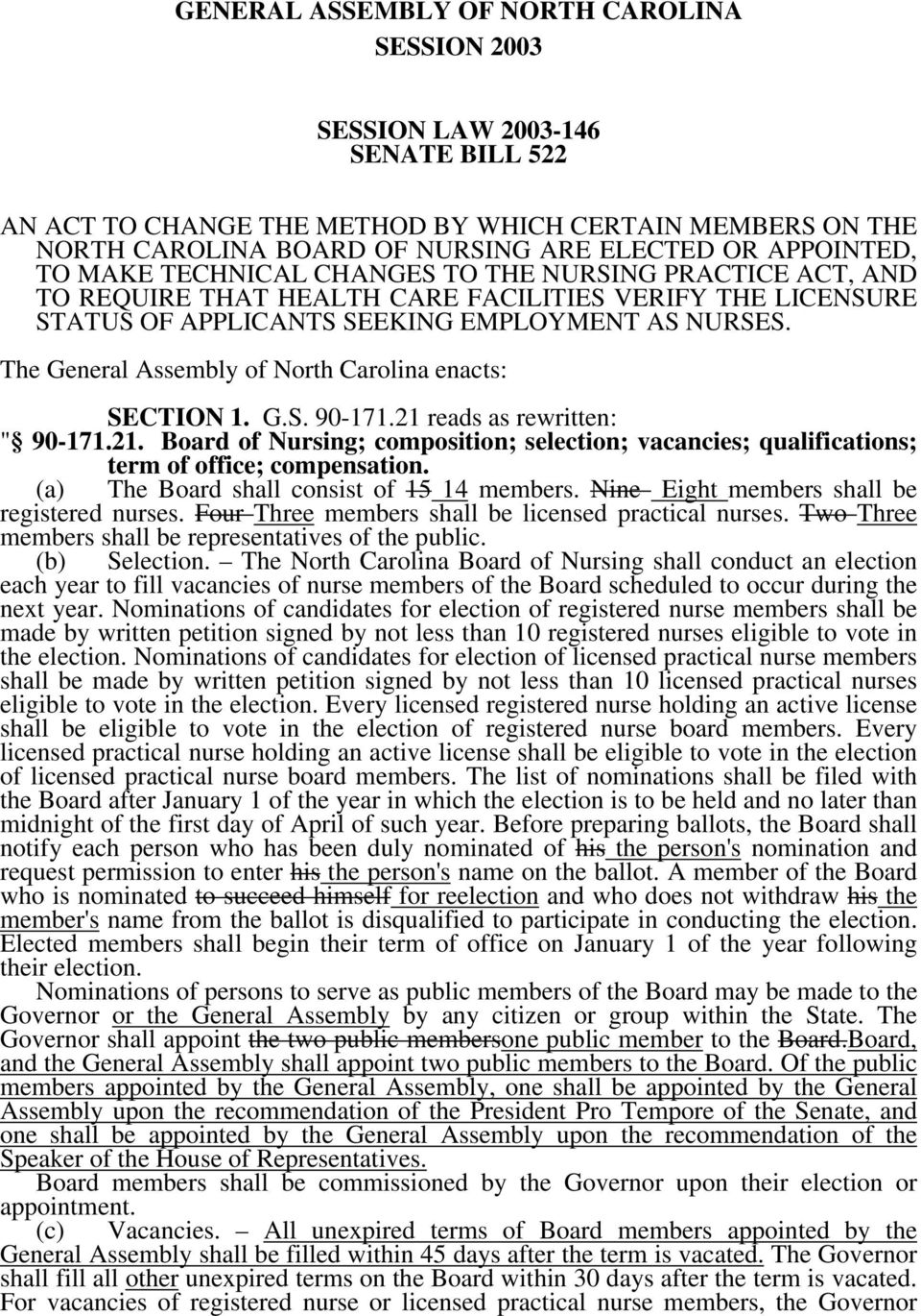 "The General Assembly of North Carolina enacts: SECTION 1. G.S. 90-171.21 reads as rewritten: "" 90-171.21. Board of Nursing; composition; selection; vacancies; qualifications; term of office; compensation."