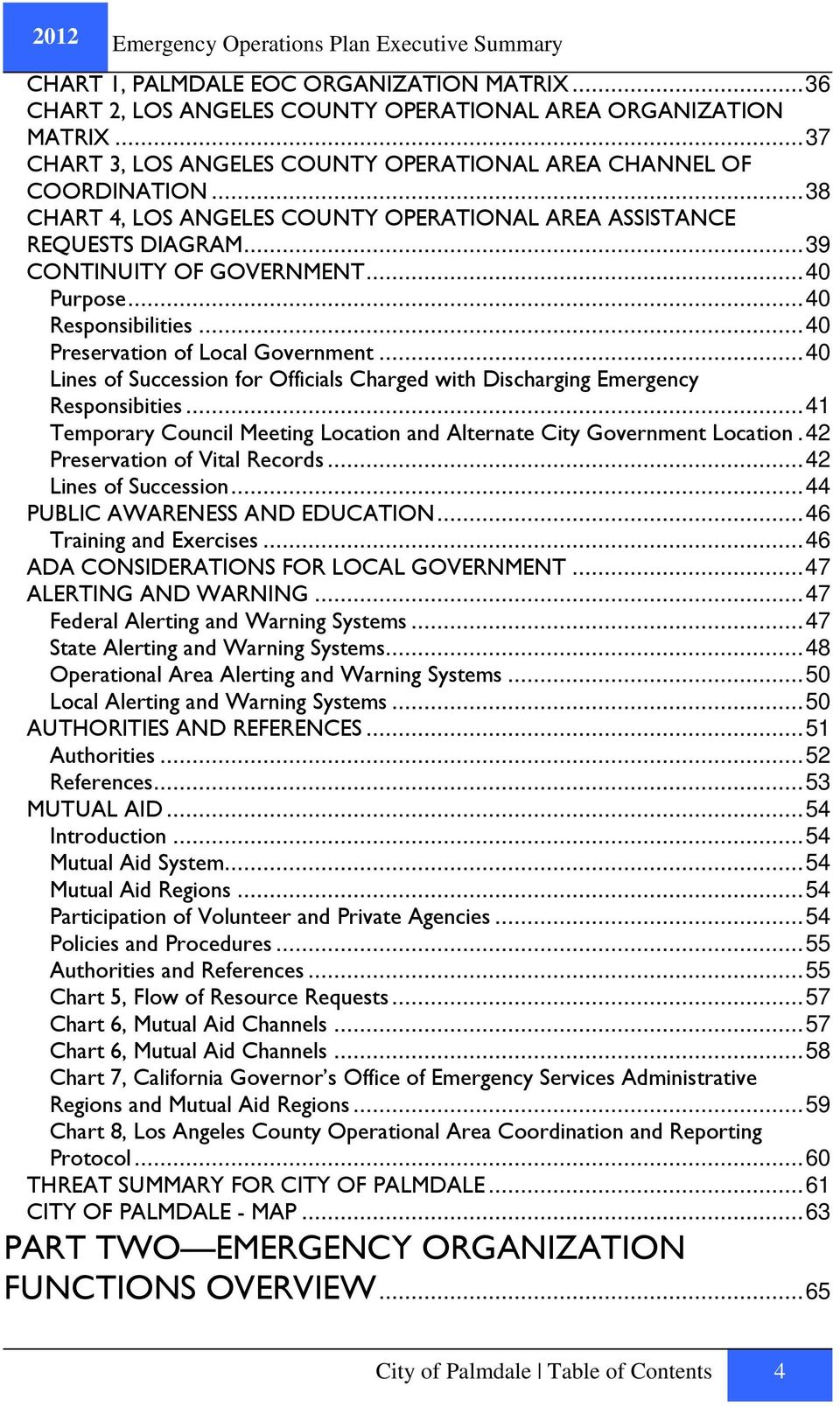 ..40 Lines of Succession for Officials Charged with Discharging Emergency Responsibities...41 Temporary Council Meeting Location and Alternate City Government Location.