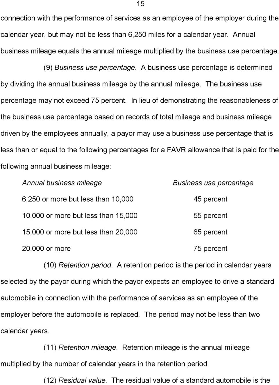A business use percentage is determined by dividing the annual business mileage by the annual mileage. The business use percentage may not exceed 75 percent.