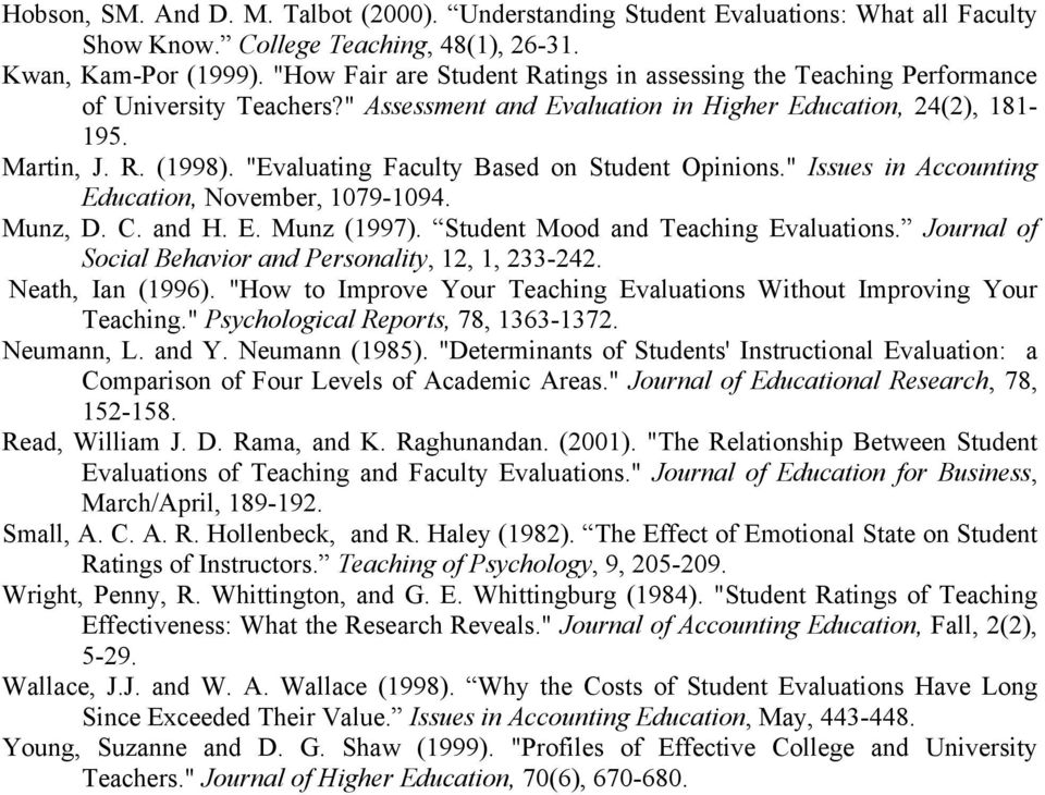 """Evaluating Faculty Based on Student Opinions."" Issues in Accounting Education, November, 1079-1094. Munz, D. C. and H. E. Munz (1997). Student Mood and Teaching Evaluations."