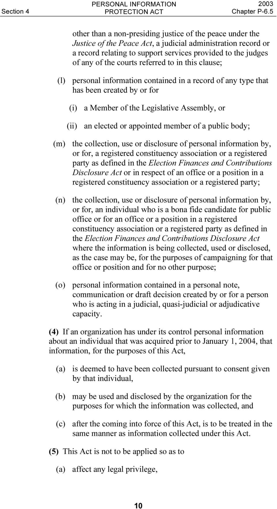 appointed member of a public body; (m) the collection, use or disclosure of personal information by, or for, a registered constituency association or a registered party as defined in the Election