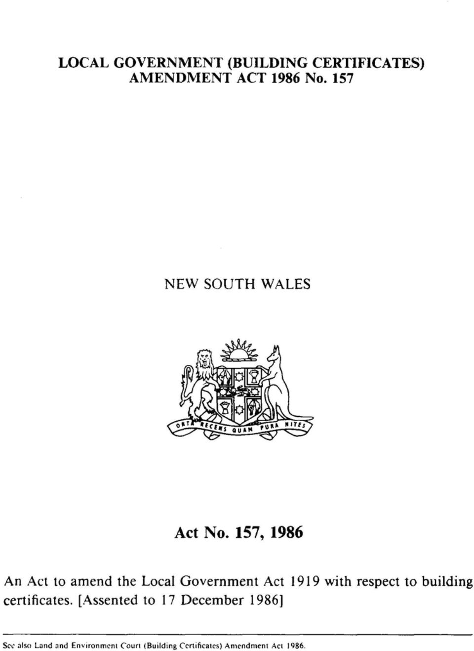 157, 1986 An Act to amend the Local Government Act 1919 with respect to