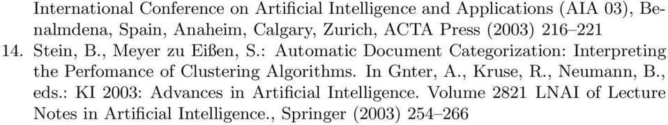 : Automatic Document Categorization: Interpreting the Perfomance of Clustering Algorithms. In Gnter, A.