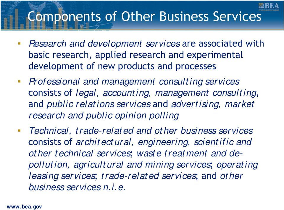 advertising, market research and public opinion polling Technical, trade-related and other business services consists of architectural, engineering, scientific and