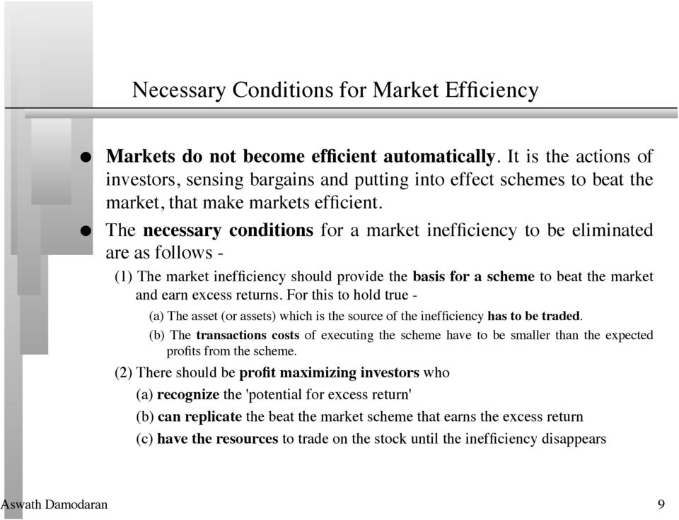 The necessary conditions for a market inefficiency to be eliminated are as follows - (1) The market inefficiency should provide the basis for a scheme to beat the market and earn excess returns.