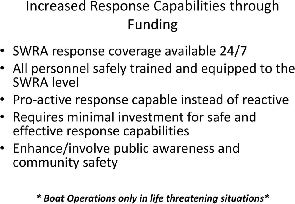 of reactive Requires minimal investment for safe and effective response capabilities