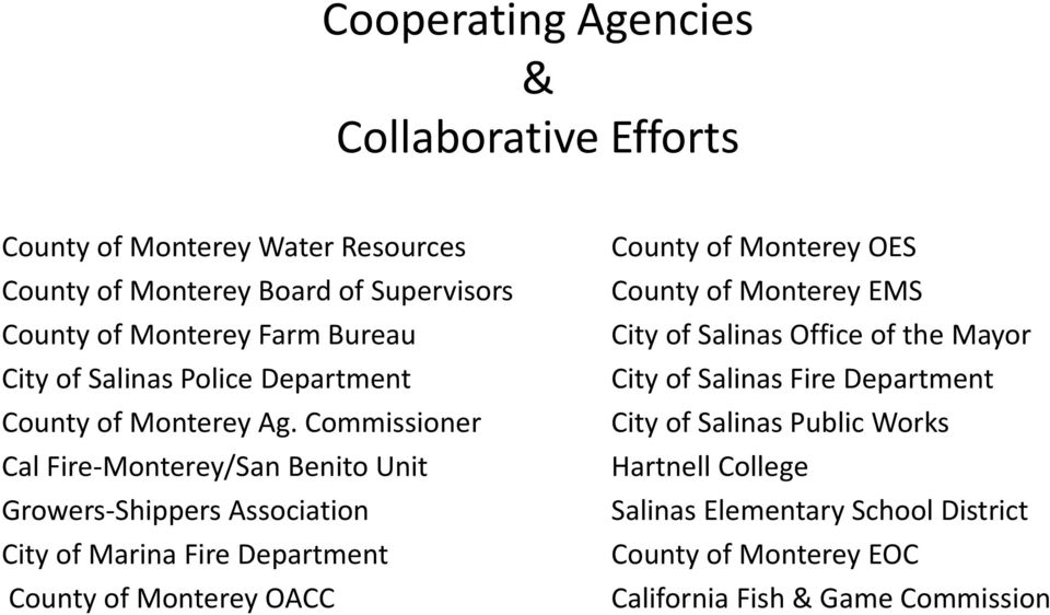 Commissioner Cal Fire-Monterey/San Benito Unit Growers-Shippers Association City of Marina Fire Department County of Monterey OACC County of