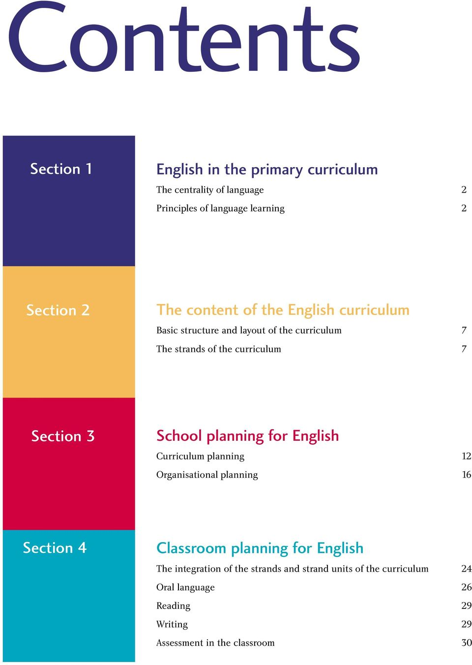 School planning for English Curriculum planning 12 Organisational planning 16 Section 4 Classroom planning for English The