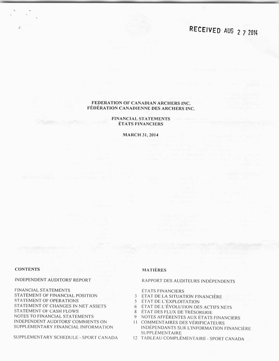ASSETS STATEMENT OF CASH FLOWS NOTES TO FINANCIAL STATEMENTS INDEPENDENT AUDITORS' COMMENTS ON SUPPLEMENTARY FINANCIAL INFORMATION SUPPLEMENTARY SCHEDULE - SPORT CANADA M ATI ERES RAPPORT DES