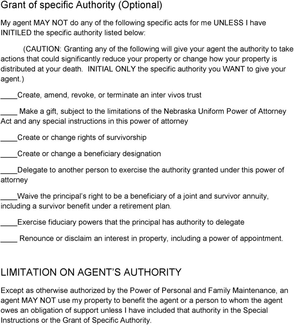 INITIAL ONLY the specific authority you WANT to give your agent.