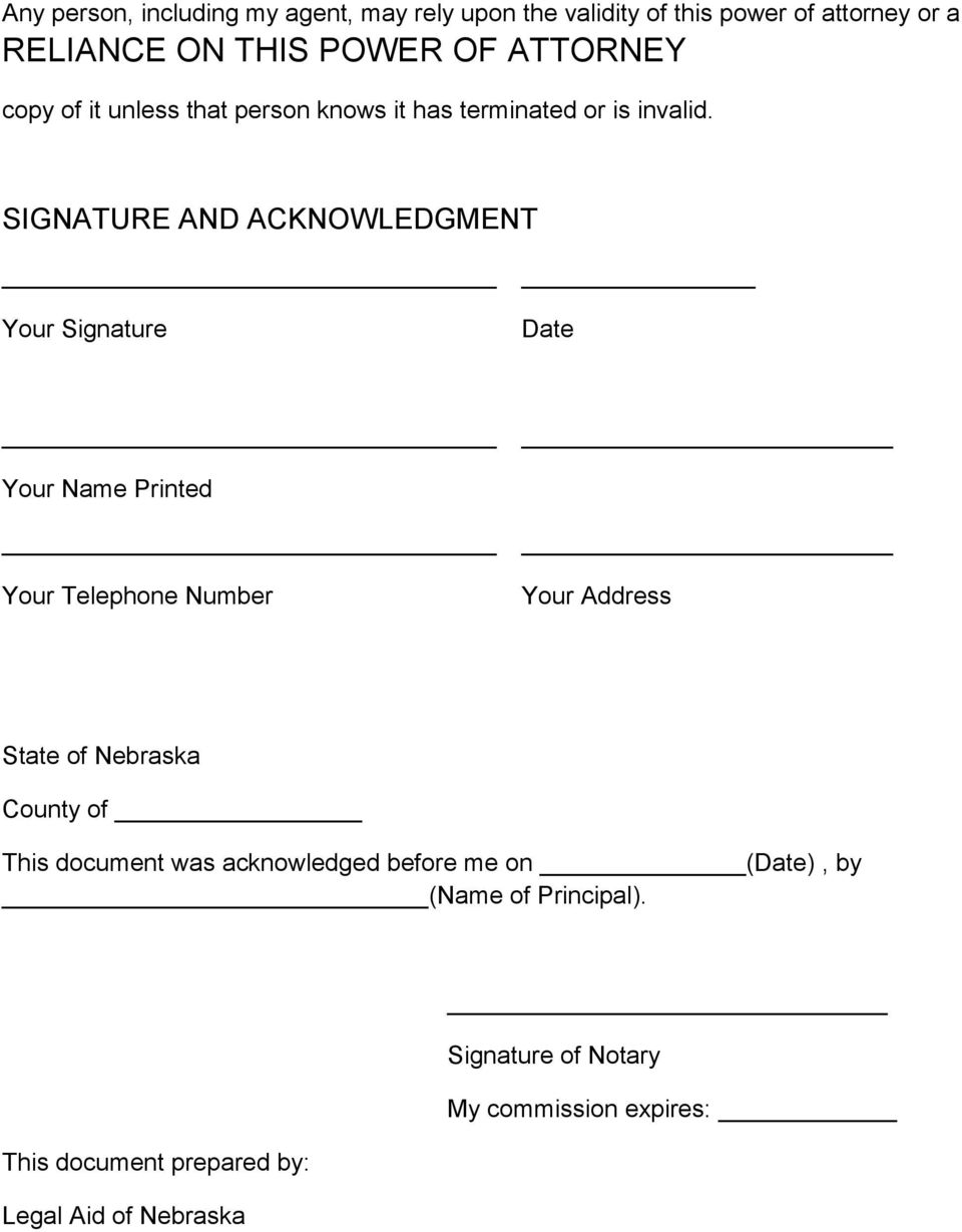 SIGNATURE AND ACKNOWLEDGMENT Your Signature Date Your Name Printed Your Telephone Number Your Address State of Nebraska