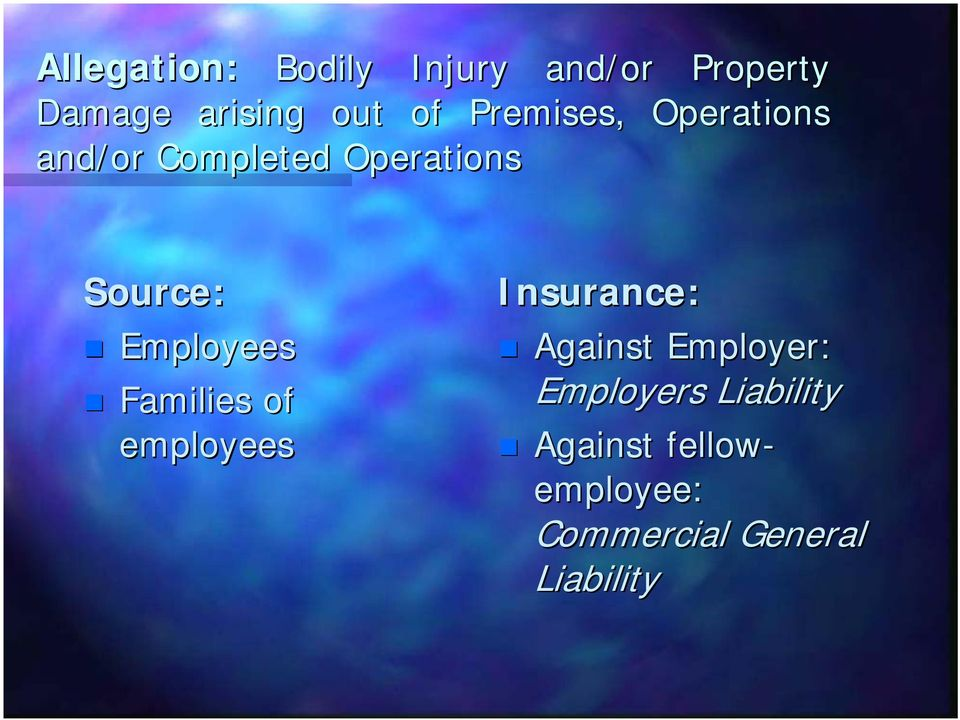 Employees Families of employees Insurance: Against Employer: