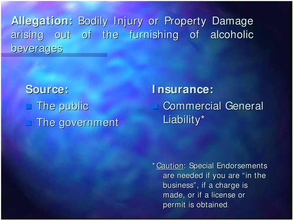 Commercial General Liability* *Caution:: Special Endorsements are needed if