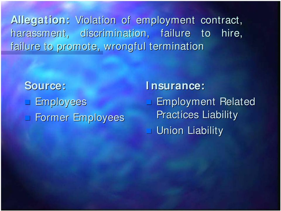 wrongful termination Source: Employees Former Employees