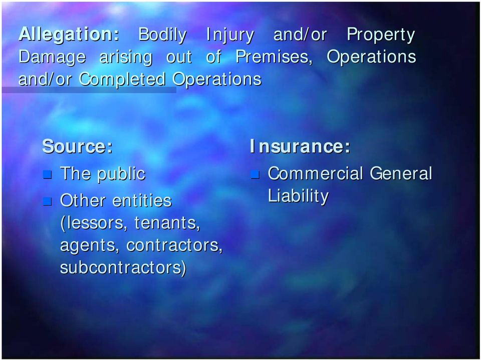 The public Other entities (lessors, tenants, agents,
