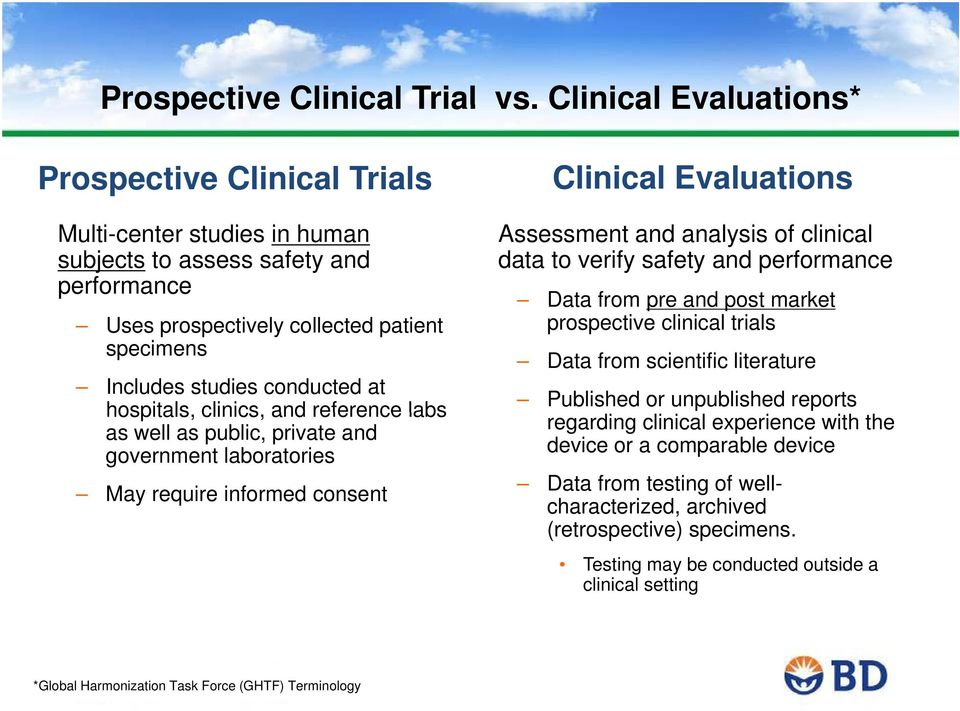 hospitals, clinics, and reference labs as well as public, private and government laboratories May require informed consent Clinical Evaluations Assessment and analysis of clinical data to verify