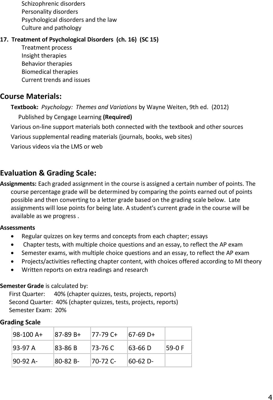 (2012) Published by Cengage Learning (Required) Various on-line support materials both connected with the textbook and other sources Various supplemental reading materials (journals, books, web