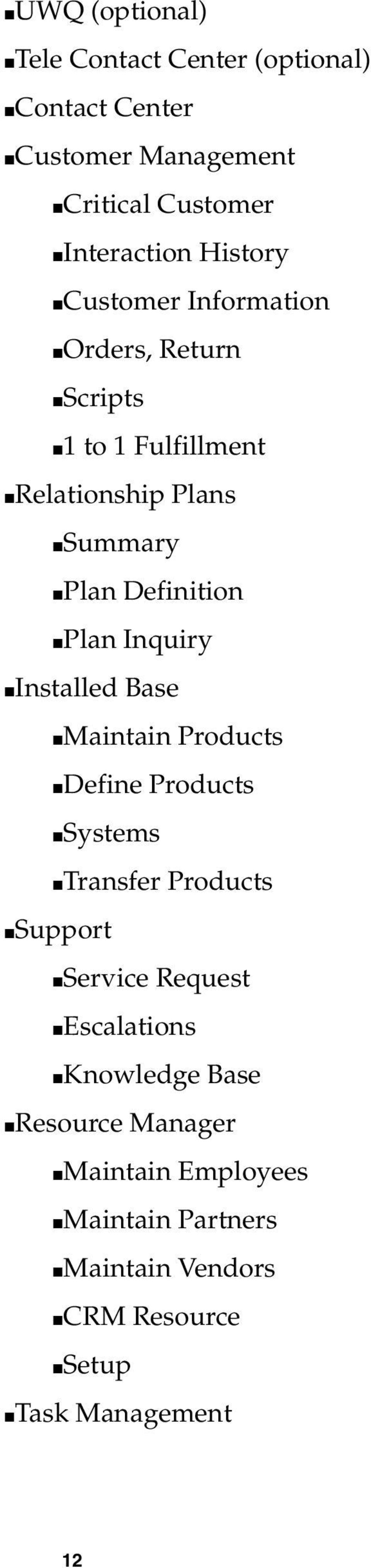 Plan Inquiry Installed Base Maintain Products Define Products Systems Transfer Products Support Service Request
