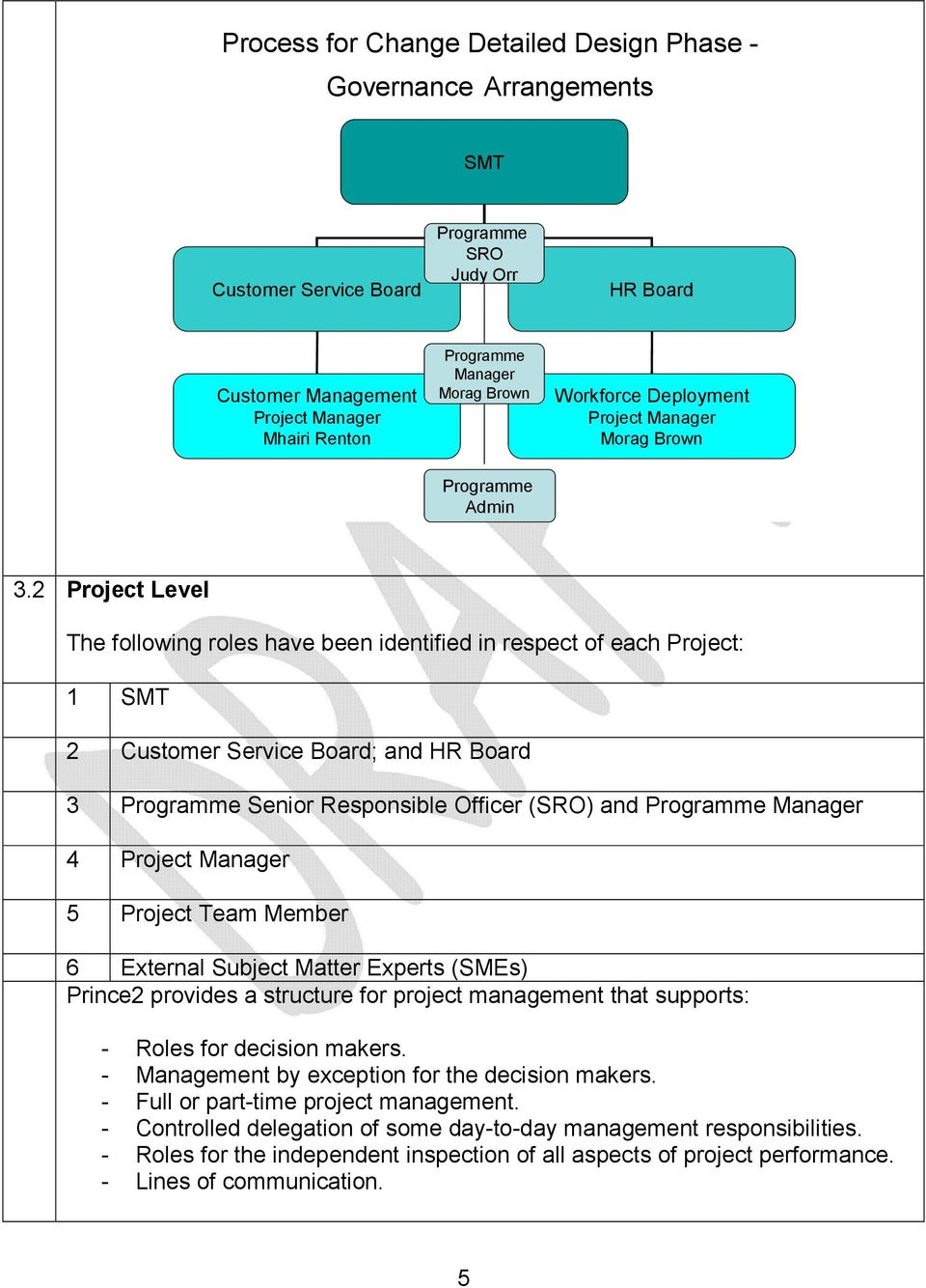 2 Project Level The following roles have been identified in respect of each Project: 1 SMT 2 Customer Service Board; and HR Board 3 Programme Senior Responsible Officer (SRO) and Programme Manager 4