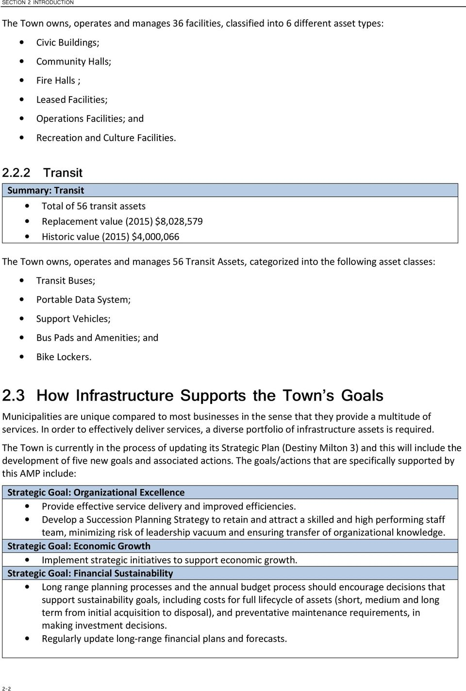 .. Transit Summary: Transit Total of 56 transit assets Replacement value (2015) $8,028,579 Historic value (2015) $4,000,066 The Town owns, operates and manages 56 Transit Assets, categorized into the