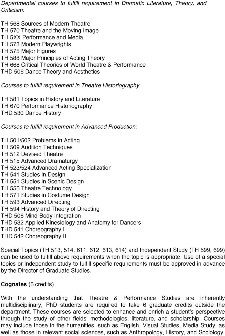 requirement in Theatre Historiography: TH 581 Topics in History and Literature TH 670 Performance Historiography THD 530 Dance History Courses to fulfill requirement in Advanced Production: TH
