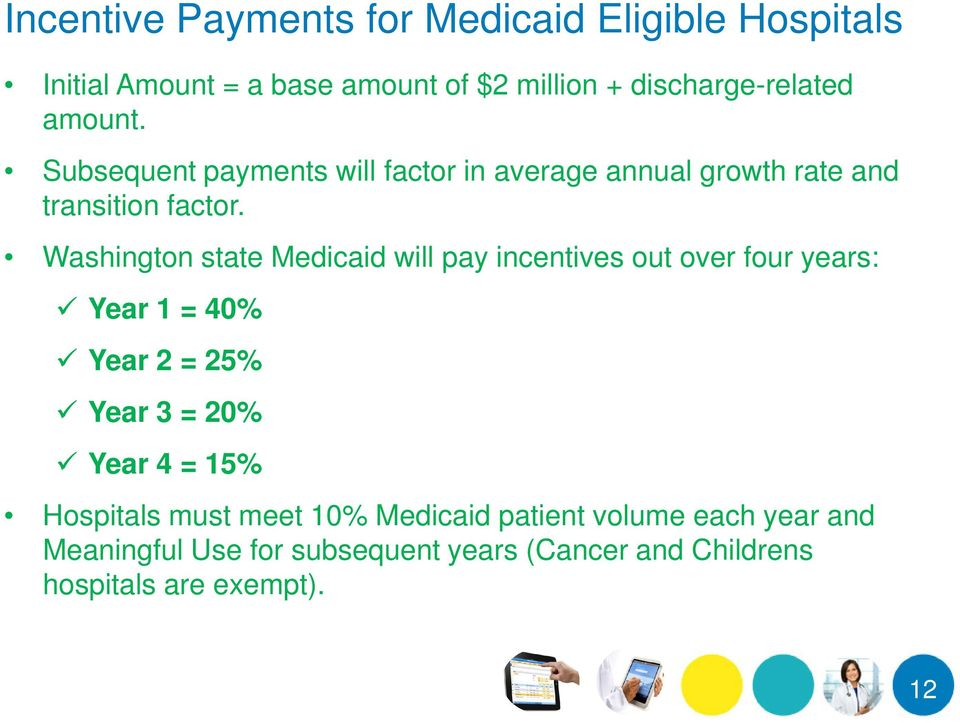 Washington state Medicaid will pay incentives out over four years: Year 1 = 40% Year 2 = 25% Year 3 = 20% Year 4 = 15%