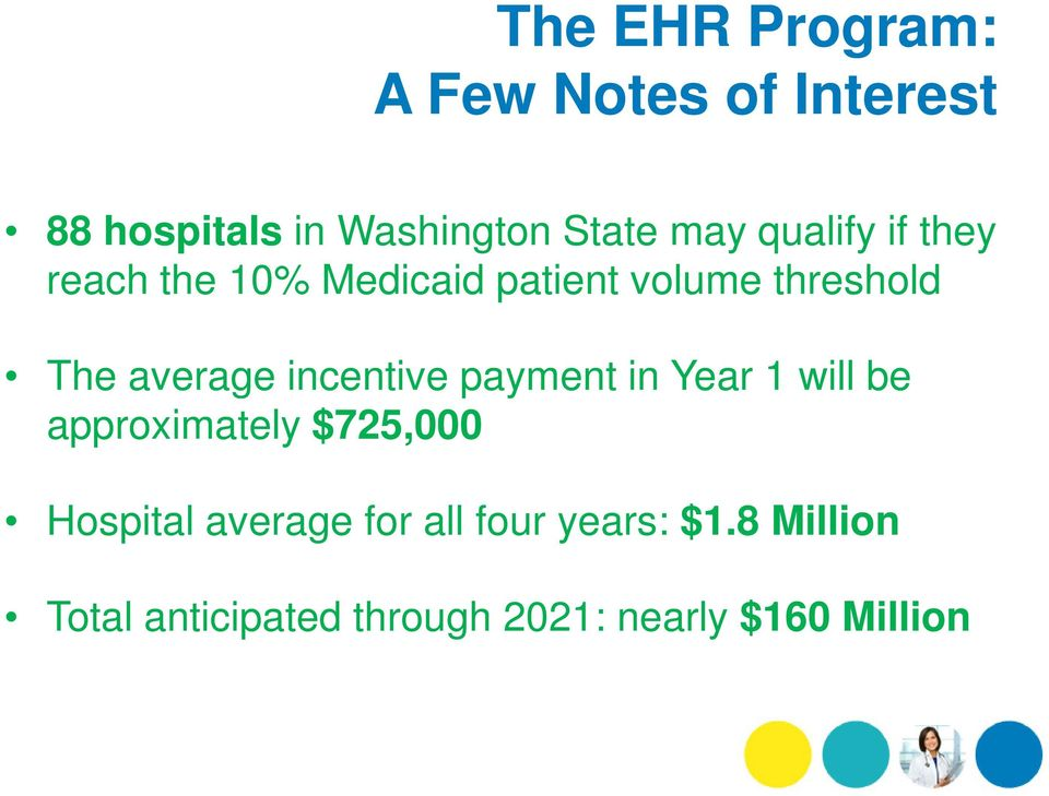 incentive payment in Year 1 will be approximately $725,000 Hospital average