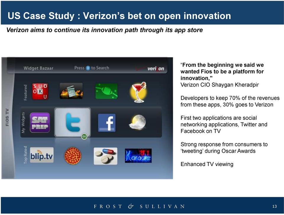 to keep 70% of the revenues from these apps, 30% goes to Verizon First two applications are social networking