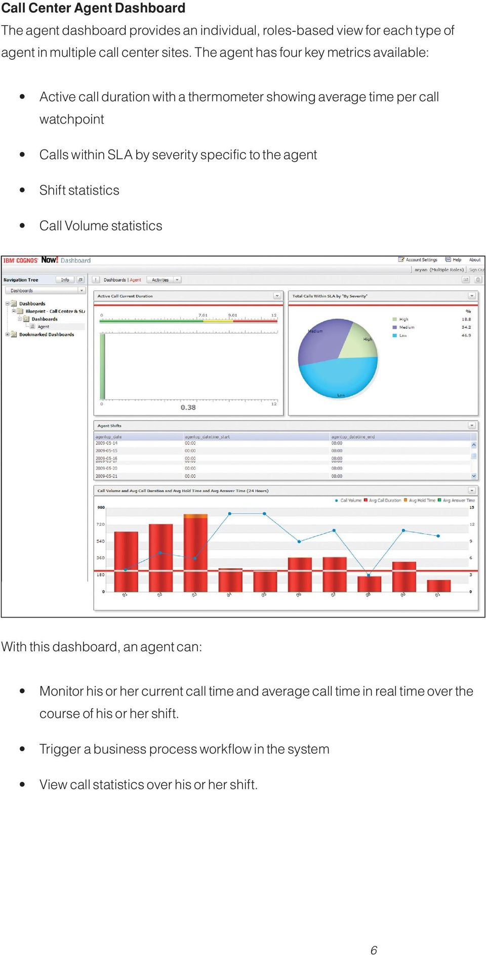 severity specific to the agent Shift statistics Call Volume statistics With this dashboard, an agent can: Monitor his or her current call time and