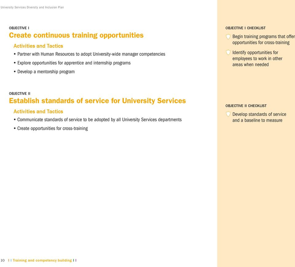 opportunities for employees to work in other areas when needed objective ii Establish standards of service for University Services Communicate standards of service to be adopted by all