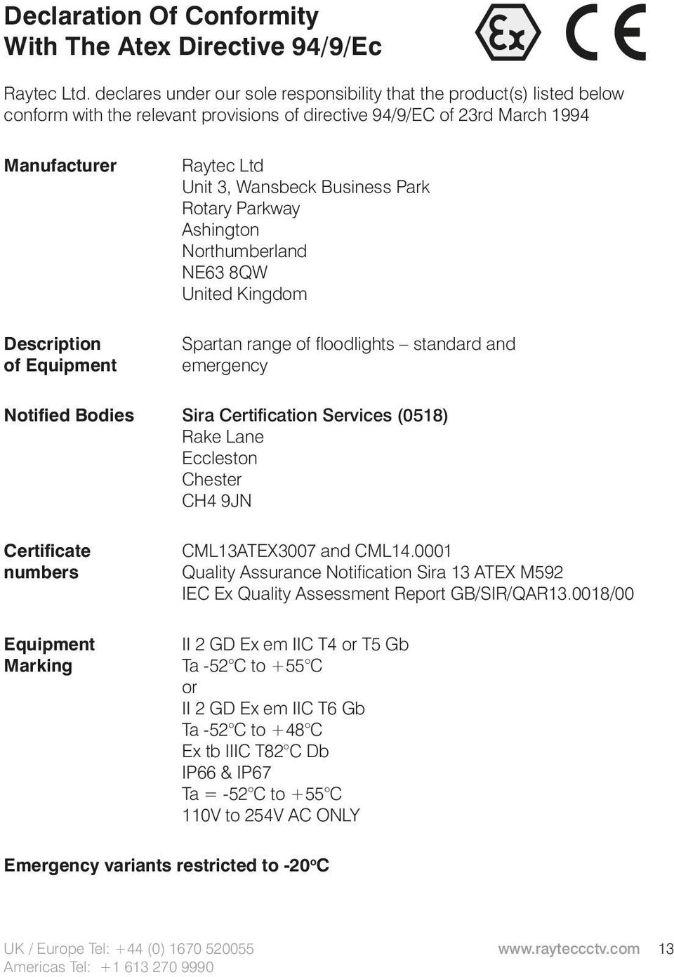 Unit 3, Wansbeck Business Park Rotary Parkway Ashington Northumberland NE63 8QW United Kingdom Spartan range of floodlights standard and emergency Notified Bodies Sira Certification Services (0518)